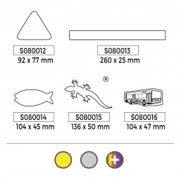 Stickers réfléchissants (formes : Triangle, Rectangle, Poisson, Lézard, Bus)