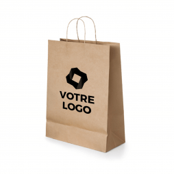 Sac en papier kraft naturel grand format 24 x 31 cm, personnalisable