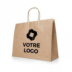 Sac en papier kraft naturel (rectangulaire) - Personnalisable