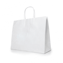Sac en papier kraft blanc (rectangulaire) - Personnalisable