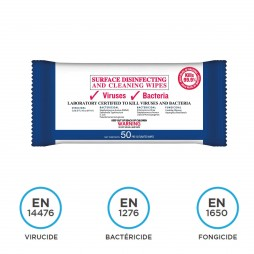 Pack de 50 lingettes désinfectantes, virucides et bactéricides