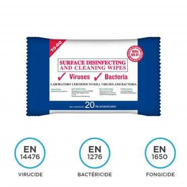 Pack de 20 lingettes désinfectantes, virucides et bactéricides