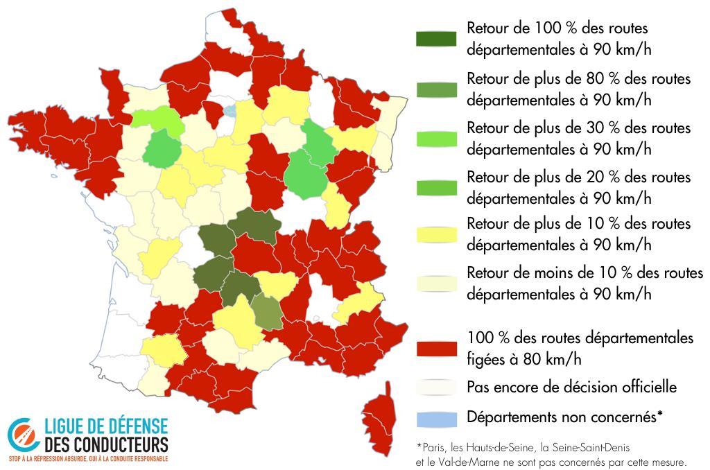 Carte des limitations de vitesse 80km/h en France