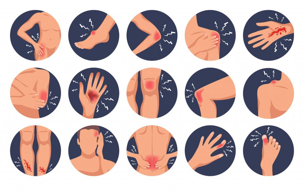 plusieurs illustrations de différents types de blessures sur différentes zones du corps. Trousse de secours artisan